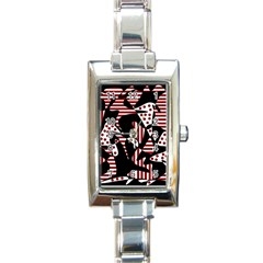 Red, Black And White Abstraction Rectangle Italian Charm Watch by Valentinaart
