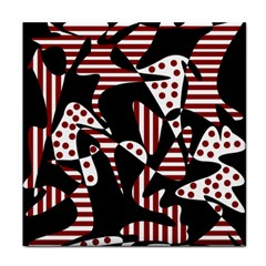 Red, Black And White Abstraction Tile Coasters by Valentinaart