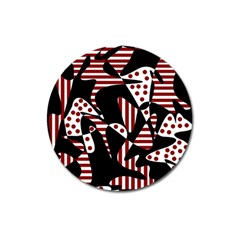 Red, Black And White Abstraction Magnet 3  (round) by Valentinaart