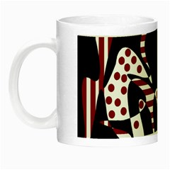 Red, Black And White Abstraction Night Luminous Mugs by Valentinaart