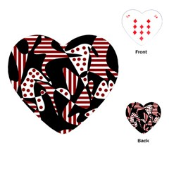 Red, Black And White Abstraction Playing Cards (heart)  by Valentinaart