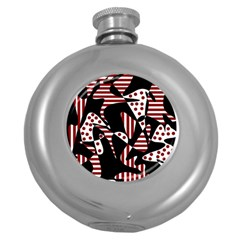 Red, Black And White Abstraction Round Hip Flask (5 Oz) by Valentinaart