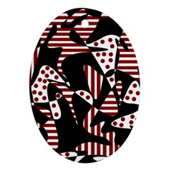 Red, Black And White Abstraction Oval Ornament (two Sides) by Valentinaart