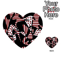 Red, Black And White Abstraction Multi Purpose Cards (heart)  by Valentinaart
