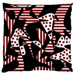 Red, Black And White Abstraction Large Flano Cushion Case (two Sides) by Valentinaart