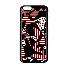 Red, Black And White Abstraction Apple Iphone 6/6s Black Enamel Case by Valentinaart