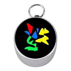 Colorful Abstraction Mini Silver Compasses by Valentinaart