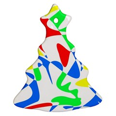 Colorful Abstraction Christmas Tree Ornament (2 Sides) by Valentinaart