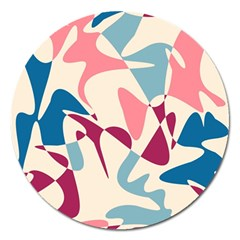 Blue, Pink And Purple Pattern Magnet 5  (round) by Valentinaart