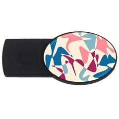 Blue, Pink And Purple Pattern Usb Flash Drive Oval (2 Gb)  by Valentinaart