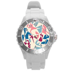 Blue, Pink And Purple Pattern Round Plastic Sport Watch (l) by Valentinaart