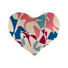 Blue, Pink And Purple Pattern Standard 16  Premium Flano Heart Shape Cushions by Valentinaart