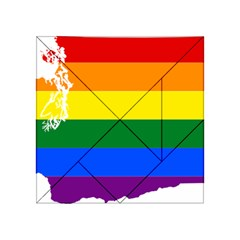 Lgbt Flag Map Of Washington Acrylic Tangram Puzzle (4  x 4 ) by abbeyz71