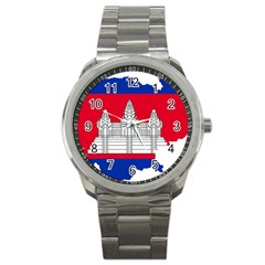 Flag Map Of Cambodia Sport Metal Watch by abbeyz71
