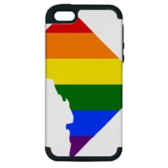 Lgbt Flag Map Of Washington, D C Apple Iphone 5 Hardshell Case (pc+silicone)