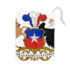 Coat Of Arms Of Chile  Drawstring Pouches (large)