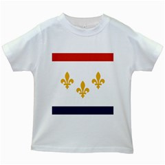 Flag Of New Orleans  Kids White T Shirts