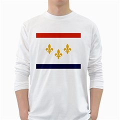 Flag Of New Orleans  White Long Sleeve T Shirts