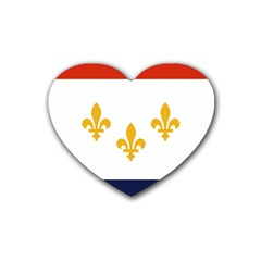 Flag Of New Orleans  Rubber Coaster (heart)  by abbeyz71