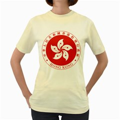 Emblem Of Hong Kong  Women s Yellow T Shirt