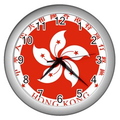Emblem Of Hong Kong  Wall Clocks (silver)