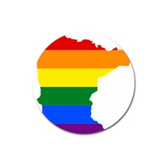 Lgbt Flag Map Of Minnesota  Magnet 3  (round)