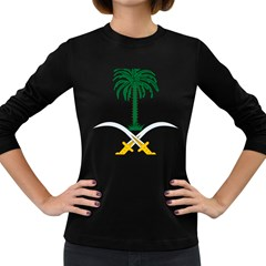 Emblem Of Saudi Arabia  Women s Long Sleeve Dark T Shirts