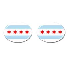 Flag Of Chicago Cufflinks (oval) by abbeyz71