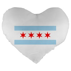 Flag Of Chicago Large 19  Premium Heart Shape Cushions by abbeyz71