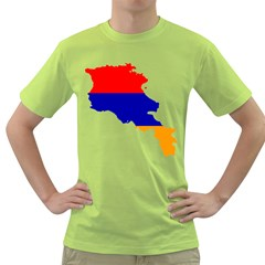 Flag Map Of Armenia  Green T Shirt