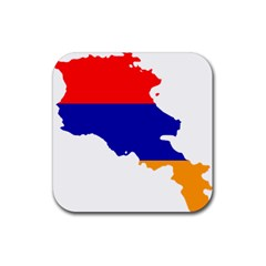 Flag Map Of Armenia  Rubber Square Coaster (4 Pack)  by abbeyz71