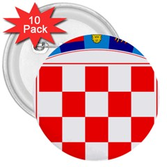 Coat Of Arms Of Croatia 3  Buttons (10 pack)  by abbeyz71