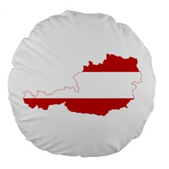 Flag Map Of Austria Large 18  Premium Round Cushions