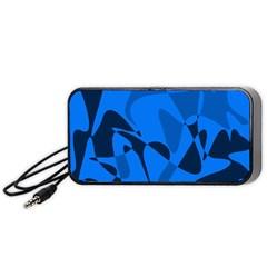 Blue Pattern Portable Speaker (black)  by Valentinaart