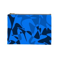 Blue Pattern Cosmetic Bag (large)  by Valentinaart