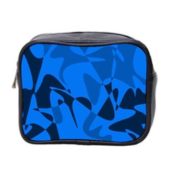 Blue Pattern Mini Toiletries Bag 2 Side by Valentinaart