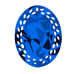 Blue Pattern Oval Filigree Ornament (2 Side)  by Valentinaart