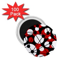 Red, Black And White Pattern 1 75  Magnets (100 Pack)  by Valentinaart