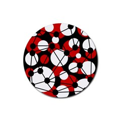 Red, Black And White Pattern Rubber Round Coaster (4 Pack)  by Valentinaart