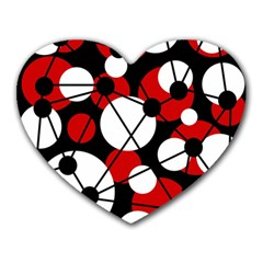 Red, Black And White Pattern Heart Mousepads by Valentinaart