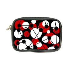 Red, Black And White Pattern Coin Purse by Valentinaart