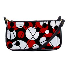 Red, Black And White Pattern Shoulder Clutch Bags by Valentinaart