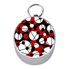 Red, Black And White Pattern Mini Silver Compasses by Valentinaart