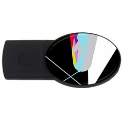 Colorful abstraction USB Flash Drive Oval (1 GB)  by Valentinaart