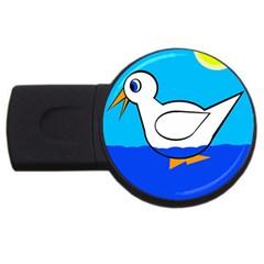 White Duck Usb Flash Drive Round (4 Gb)  by Valentinaart