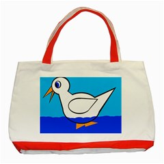 White Duck Classic Tote Bag (red) by Valentinaart