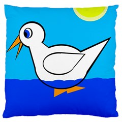 White Duck Large Flano Cushion Case (one Side) by Valentinaart