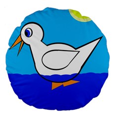 White Duck Large 18  Premium Flano Round Cushions by Valentinaart