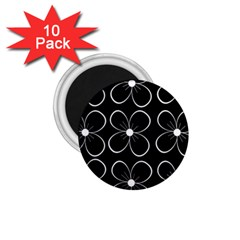 Black And White Floral Pattern 1 75  Magnets (10 Pack)  by Valentinaart