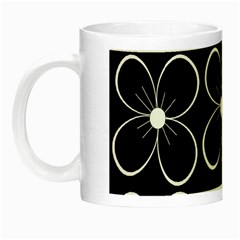 Black And White Floral Pattern Night Luminous Mugs by Valentinaart